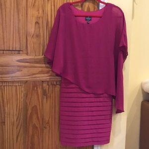 Adrianna Papell Dress fuchsia color.